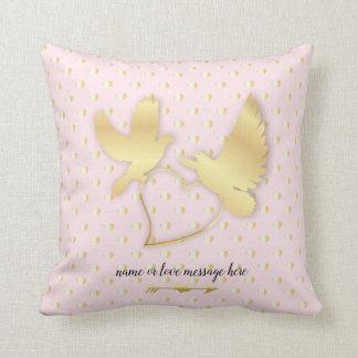 Golden Heart Swans, Golden Doves Throw Pillow