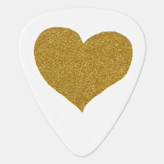 golden heart, white guitar pick