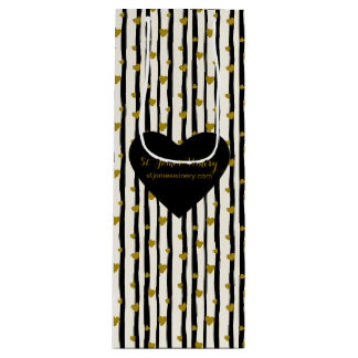 Golden Hearts And Black Stripes Wine Gift Bag