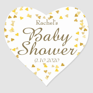 Golden Hearts Baby Shower Favor Heart Sticker