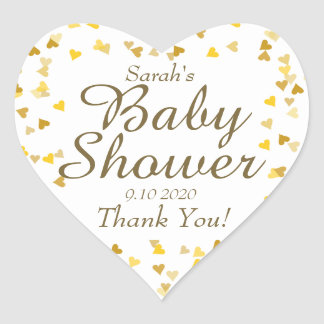 Golden Hearts Baby Shower / Sprinkle Favor Heart Sticker