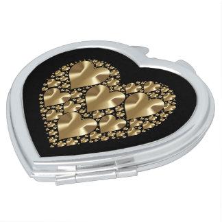 Golden hearts compact mirror