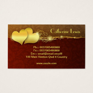 golden hearts elegant business card design