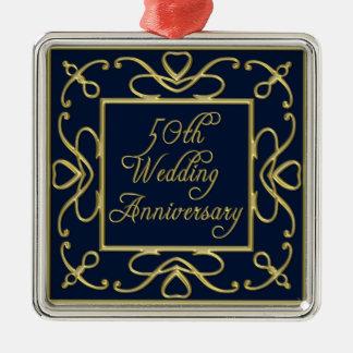 Golden Hearts On Blue 50th Wedding Anniversary Metal Ornament