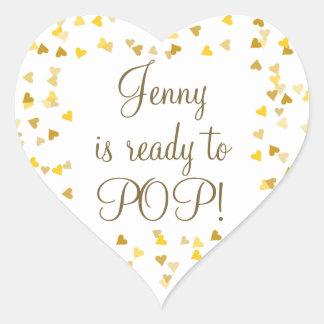Golden Hearts She's Ready to Pop Baby Shower Heart Sticker