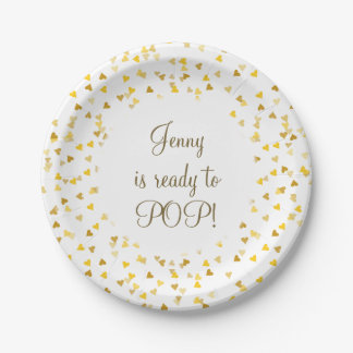 Golden Hearts She's Ready to Pop Baby Shower Paper Plate