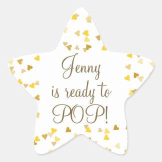 Golden Hearts She's Ready to Pop Baby Shower Star Sticker