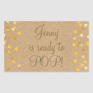 Golden Hearts She's Ready to Pop Baby Shower Sticker