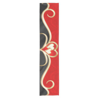 Golden hearts short table runner