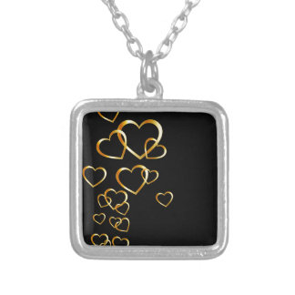 golden hearts square pendant necklace