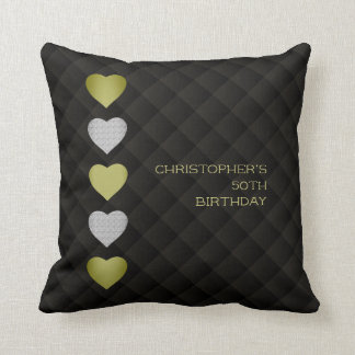 Golden Hearts with Quilted Look Throw Pillow