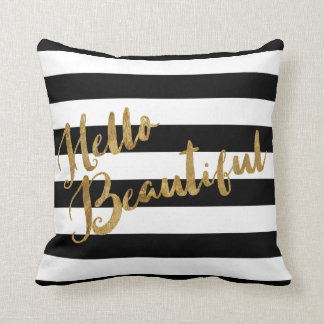 Golden Hello Beautiful Stripes Throw Pillow