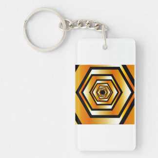 Golden hexagon Double-Sided rectangular acrylic keychain