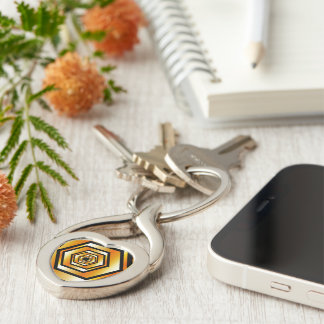 Golden hexagon Silver-Colored twisted heart keychain