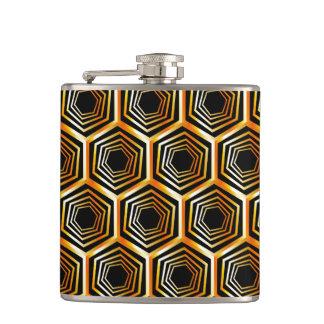 Golden hexagonal optical illusion hip flask