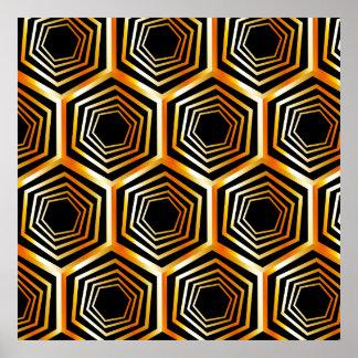 Golden hexagonal optical illusion poster