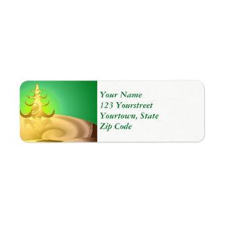 Golden Holiday Return Address Label