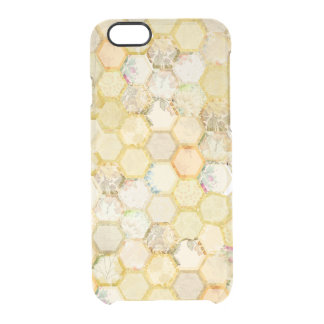 Golden Honeycomb Beehive Floral Glam Clear iPhone 6/6S Case