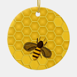 Golden Honeycomb Ornament with Honeybees