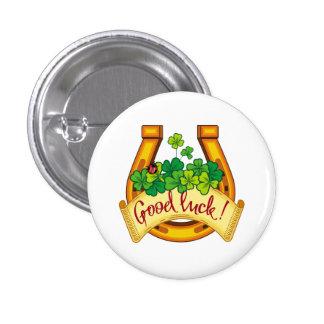 Golden horseshoe 1 inch round button
