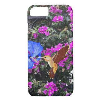 Golden Hummingbird, Blue Hibiscus, & Bougainvillea iPhone 8/7 Case