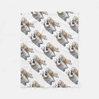 Golden Husky Looking Up Fleece Blanket