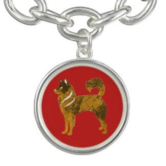 Golden Husky Round Charm Bracelet, Silver Plated