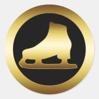 GOLDEN ICE SKATE ROUND STICKER