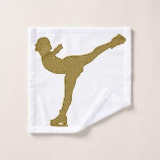 Golden Ice skating Wash Cloth