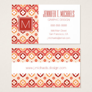 Golden ikat geometric pattern business card