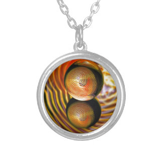 Golden in the crystal ball silver plated necklace