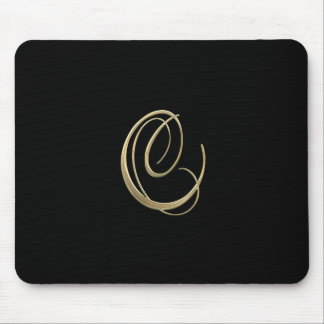 Golden initial C monogram Mouse Pad