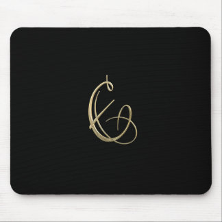 Golden initial E monogram Mouse Pad