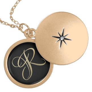 Golden initial R monogram Locket Necklace