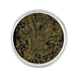 Golden inlayed style  florals lapel pin