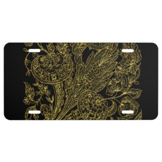 Golden inlayed style  florals license plate
