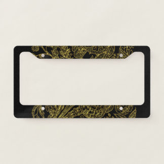 Golden inlayed style  florals license plate frame
