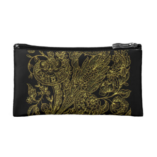 Golden inlayed style  florals makeup bag