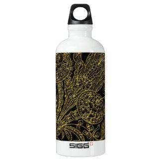 Golden inlayed style  florals water bottle