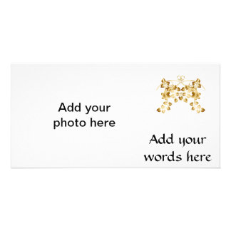 Golden Intertwined Vines and Flowers Customized Photo Card