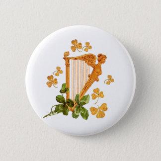 Golden Irish Harp - Erin Go Bragh 2 Inch Round Button