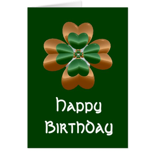 Golden Irish Shamrock Happy Birthday Card