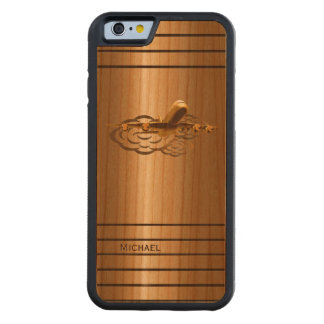 Golden Jet Airliner Aircraft Carved Cherry iPhone 6 Bumper Case