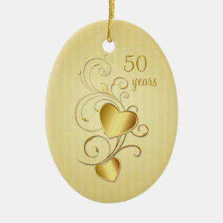 Golden joined hearts 50th Wedding Anniversary Double-Sided Oval Ceramic Christmas Ornament