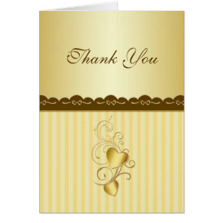 Golden joined hearts Wedding Thank you Greeting Card
