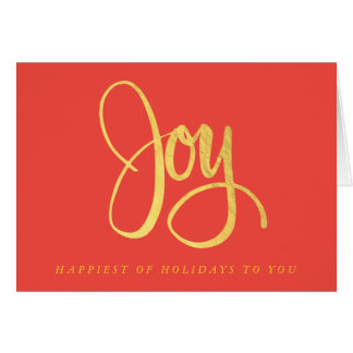 Golden Joy on Red Folded Holiday Card