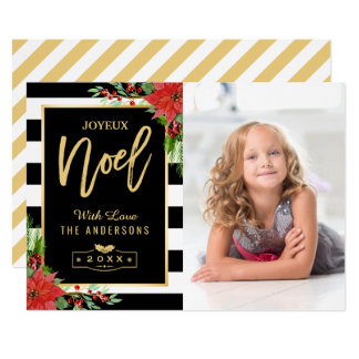 Golden Joyeux Noel Merry Christmas Floral Photo Card