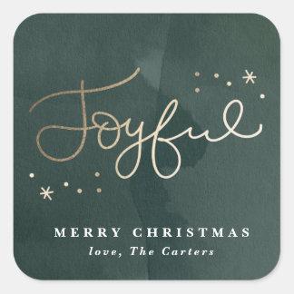 Golden Joyful faux foil holiday sticker