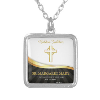 Golden Jubilee of Religious Life, 50 Year Silver Plated Necklace
