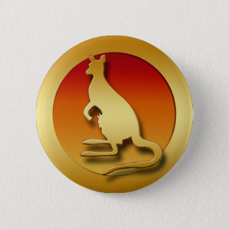 GOLDEN KANGAROO 2 INCH ROUND BUTTON